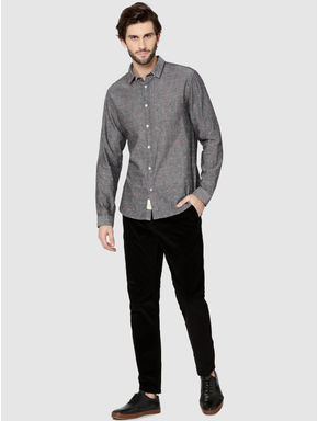 Grey All Over Printed Dobby Full Sleeves Shirt