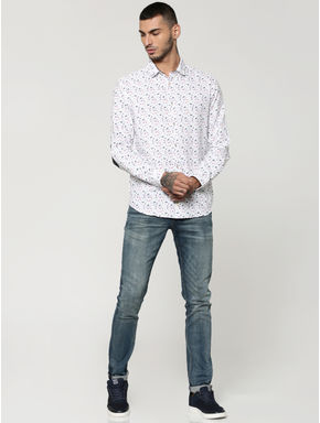 White All Over Butterfly Print Elbow Patch Slim Fit Shirt