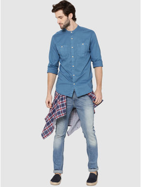 Blue Mandarin Collar Full Sleeves Slim Fit Shirt