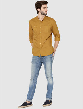 Mustard Mandarin Collar Full Sleeves Slim Fit Shirt