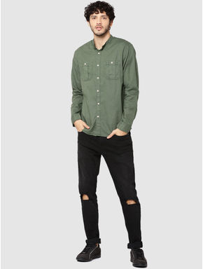 Green Mandarin Collar Full Sleeves Slim Fit Shirt