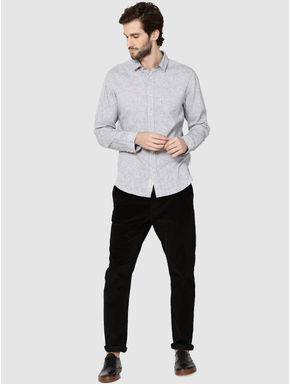 Grey Dobby Full Sleeves Slim Fit Shirt