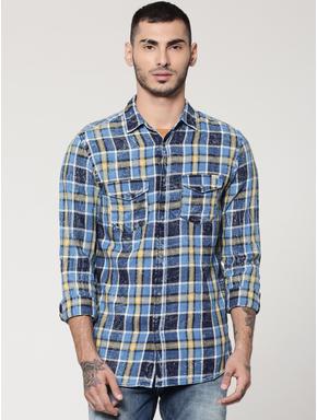 Blue & Yellow Full Sleeves Check Shirt