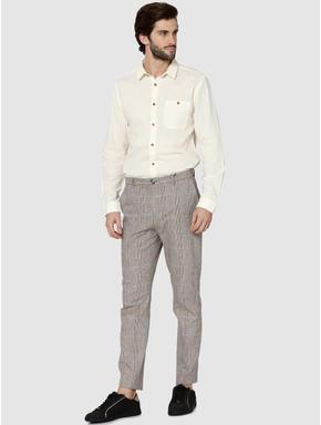 White One Pocket Full Sleeves Slim Fit Shirt
