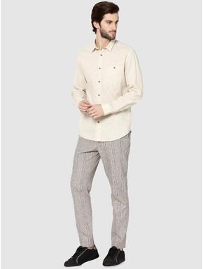 Beige One Pocket Full Sleeves Slim Fit Shirt