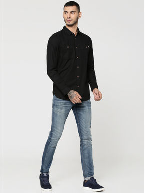 Black Two Patch Pocket Full Sleeves Slim Fit Shirt