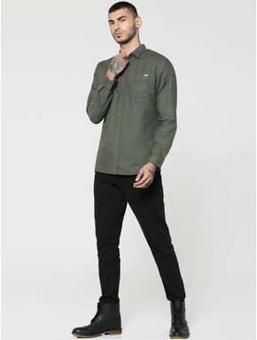 Green Two Patch Pocket Full Sleeves Slim Fit Shirt