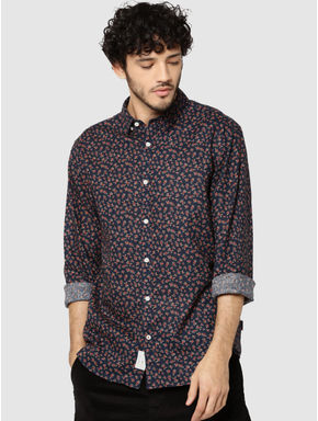 Dark Blue All Over Floral Print Full Sleeves Shirt