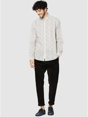 Off White All Over Floral Print Full Sleeves Shirt