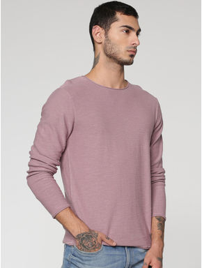 Purple Slim Fit Full Sleeves Crew Neck T-shirt