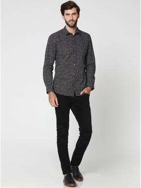 Dark Grey All Over Print Full Sleeves Shirt