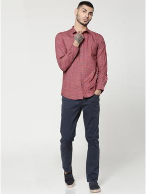 Brown Printed Full Sleeves Slim Fit Shirt
