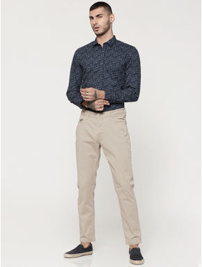 Dark Blue Printed Full Sleeves Slim Fit Shirt