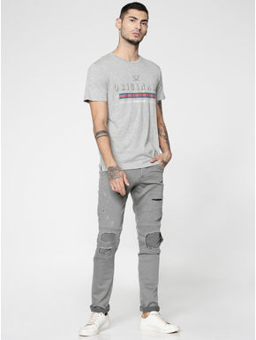 Grey Text Print Slim Fit Crew Neck T-shirt