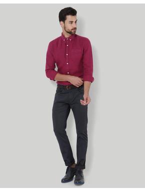 Maroon Slim Fit Linen Shirt