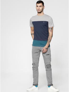 Grey Colour Blocked Slim Fit Crew Neck T-shirt