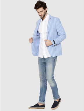 Blue Striped Slim Fit Blazer