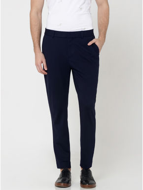 Dark Blue Slim Fit Cropped Trousers