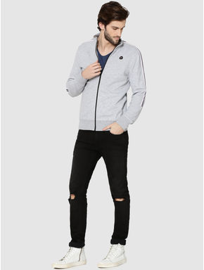 Light Grey Tape Detail Zip Up Sweatshirt