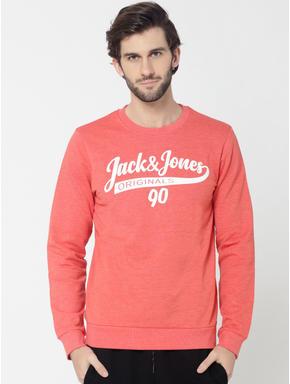 Peach Logo Print Slim Fit Sweatshirt