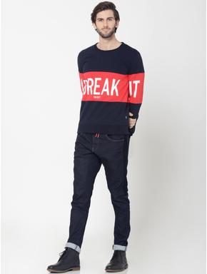 Dark Blue Colourblocked Text Print Sweatshirt
