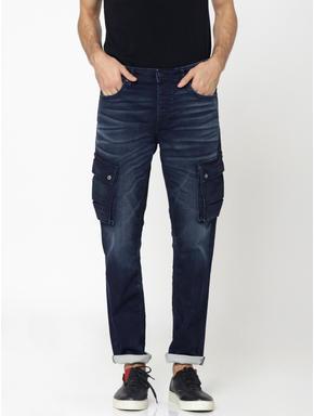 Dark Blue Cargo Style Tim Slim Fit Jeans