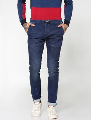 Dark Blue Glenn Drawstring Detail Slim Fit Jeans
