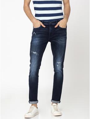 Dark Blue Ripped Liam Skinny Fit Jeans
