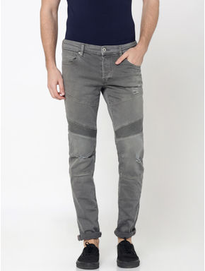 Grey Ripped Glenn Slim Fit Jeans