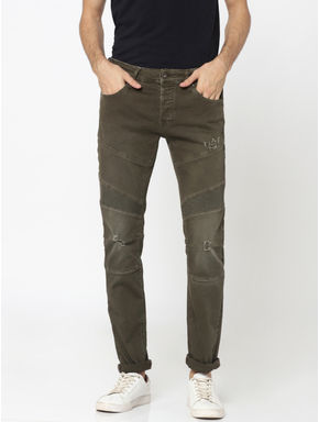 Olive Green Ripped Glenn Slim Fit Jeans