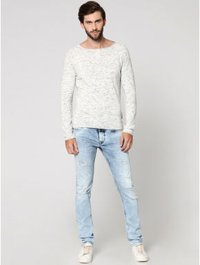 White Textured Round Neck Sweatshirt