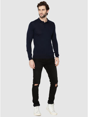 Dark Blue Full Sleeves Knit Polo T-Shirt
