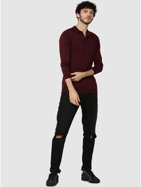 Maroon Full Sleeves Knit Polo T-Shirt