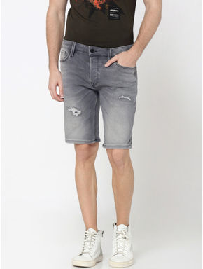 Grey Distressed Denim Shorts
