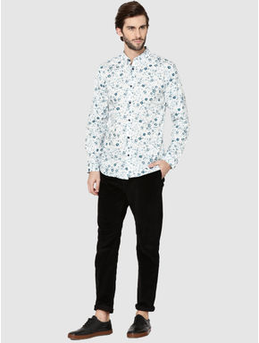 White Floral Print Full Sleeves Shirt