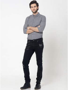White & Black Full Sleeves Gingham Check Shirt