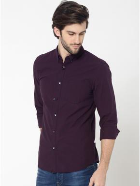Burgundy Full Sleeves Check Shirt