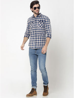 Blue Patch Pockets Check Shirt