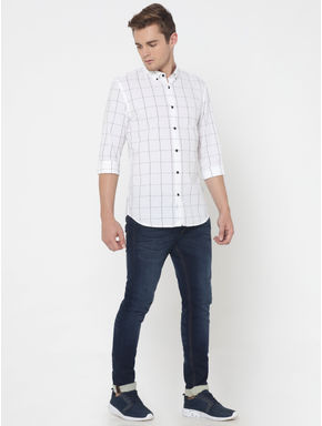 White Check Slim Fit Shirt