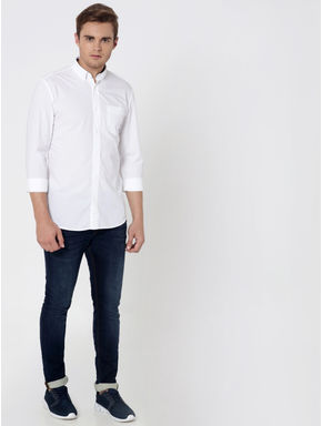 White One Pocket Slim Fit Shirt