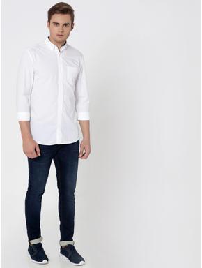 White One Pocket Slim Fit Shirt