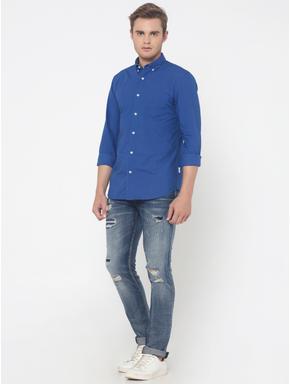 Blue One Pocket Slim Fit Shirt