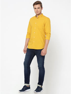 Dark Yellow One Pocket Slim Fit Shirt