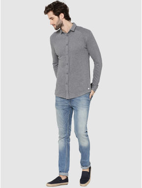 Light Grey Raglan Sleeves Knit Shirt