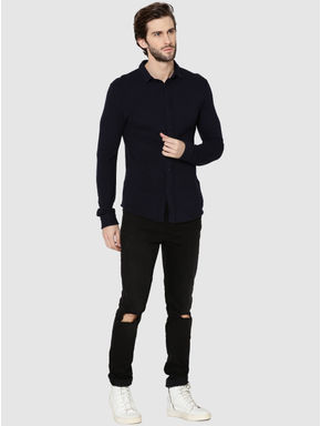 Dark Blue Raglan Sleeves Knit Shirt