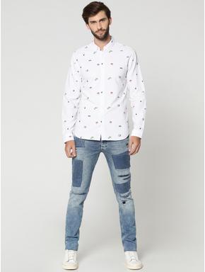White All Over Print Full Sleeves Shirt