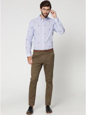 Light Blue Floral Motif Full Sleeves Check Shirt