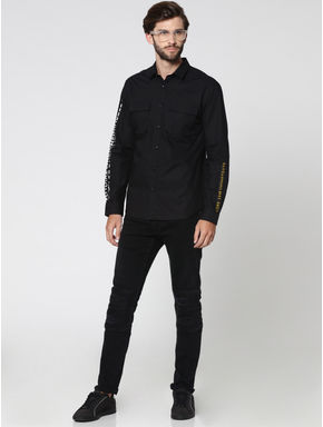 Black Placement Print Two Pocket Full Sleeves Shirt