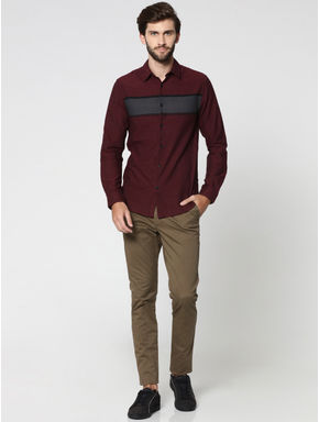 Burgundy Striped Full Sleeves Shirt