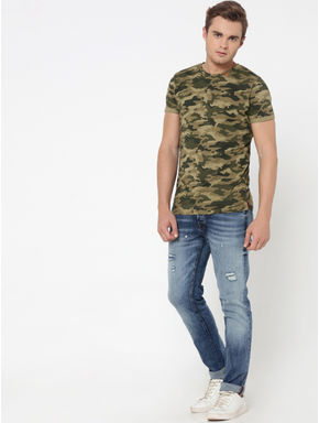 Green Camo Print Crew Neck T-Shirt